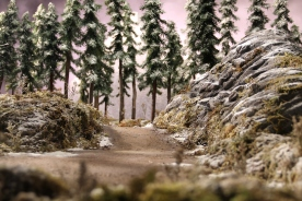 A ground level view of the forest. The ground and rocks are foam covered with plaster and textured paint. The trees are real sticks with pieces of a Christmas wreath glued on for branches.
